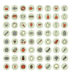 icons thin red all food vector image vector image