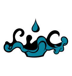 Black oil drop and spill icon icon cartoon vector