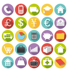 Business finance health and shopping icons vector image