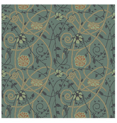 medieval flowers pattern dark vector image vector image