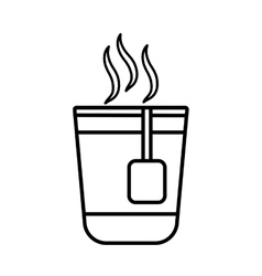 Plastic cup coffee portable line vector