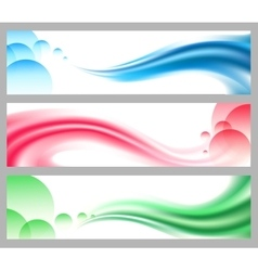 Abstract smooth wavy headers or banners set vector image