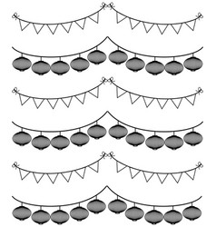 chinese style bunting with lantern on white vector image vector image
