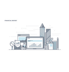 flat line design header - financial report vector image vector image