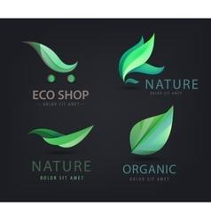 set of eco logos leaves organic vector image vector image