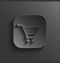 Shopping cart icon - black app button vector image vector image