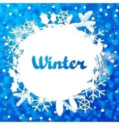 Winter abstract background design with snowflakes vector image vector image