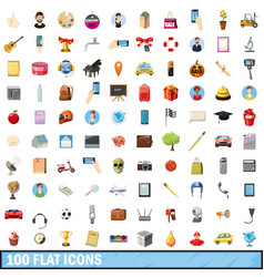 100 flat icons set cartoon style vector