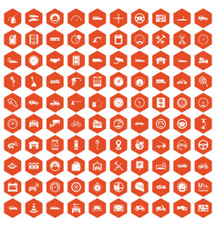 100 garage icons hexagon orange vector