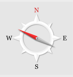 3d arrow compass with compass and shadow on a vector