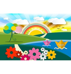 Abstract Landscape Spring - Summer - Autumn vector image vector image