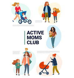 Active moms club poster active mothers with vector