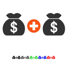 Add money bags flat icon vector