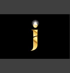 alphabet letter j gold golden metal metallic logo vector image