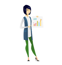 Asian business woman showing financial chart vector