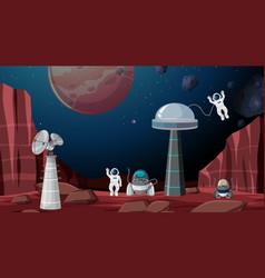 Astronauts in space scene vector