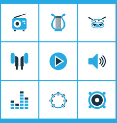 Audio colored icons set collection of radio harp vector