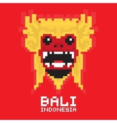 Bali traditional mask pixel art card vector