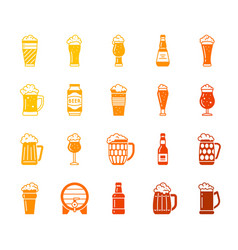 beer mug color silhouette icons set vector image