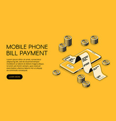 Bill mobile payment isometric vector
