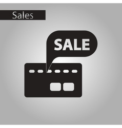 Black and white style icon bank card sale vector
