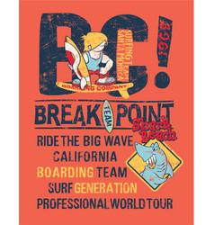 break point kids surfing shark team vector image vector image