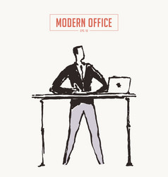 businessman workplace table high legs drawn vector image