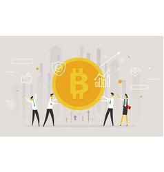 businessmen team hold a huge bitcoin vector image