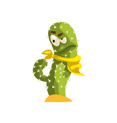 cactus character in yellow neck scarf succulent vector image