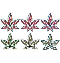Cannabis marijuana leaf peaceful snake symbol vector