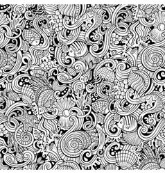 Cartoon doodles under water life seamless pattern vector image