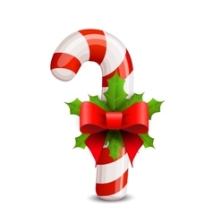 Christmas candy cane decorated with a bow vector
