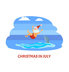 Christmas vacation with santa and dolphin vector