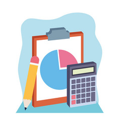Clipboard with pencil and calculator colorful vector