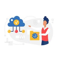 cloud computing web service user holding data vector image