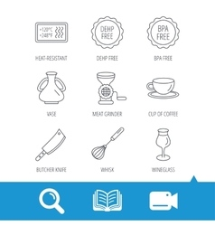 Coffee cup butcher knife and wineglass icons vector