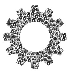 Cogwheel collage of home keyhole icons vector