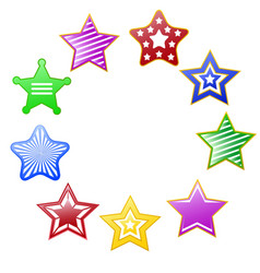 colorful stars circle vector image