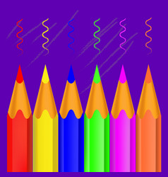 colorful wooden crayons pencils vector image