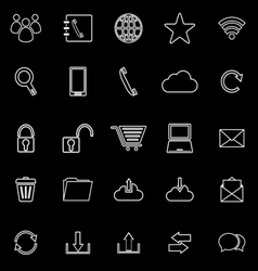 Communication line icons on black background vector image