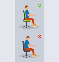 Computer sit position banner vertical flat style vector