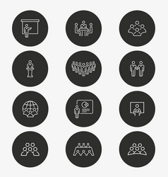 Conference icon set round button vector