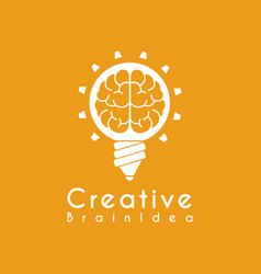 Creative idea brain pencil lamp pen design logo vector