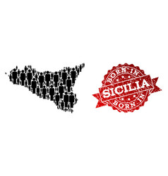 Crowd collage of mosaic map of sicilia island and vector