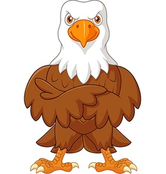 Cute eagle cartoon posing isolated vector