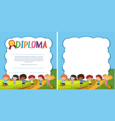 Diploma and border template with happy kids in vector