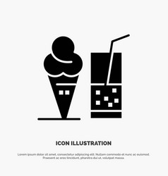 drink ice cream summer juice solid black glyph vector image