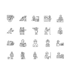 employee line icons signs set outline vector image
