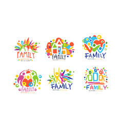 family original design labels collection colorful vector image