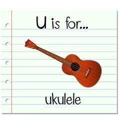 Flashcard letter u is for ukulele vector